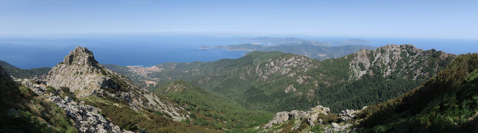 East view from the top of Monte Capanne on the island Elba royalty free stock photography