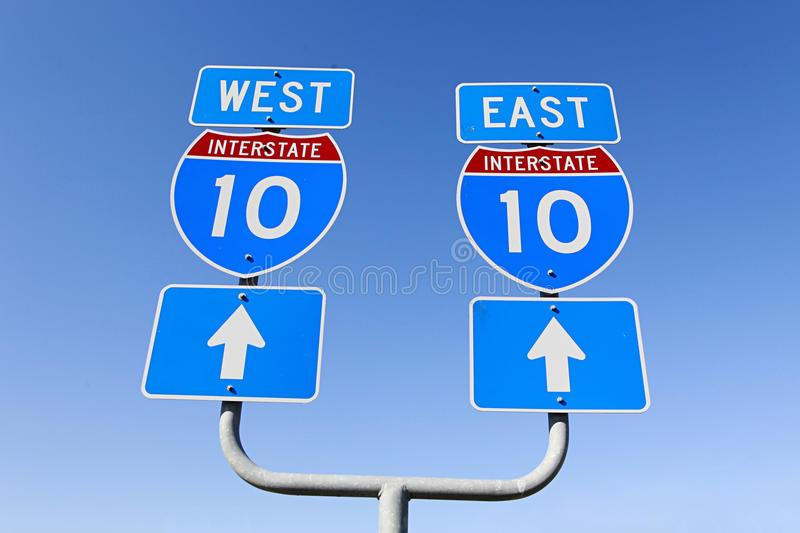 Download East West Decision On Major Interstate In The Us Stock Photo - Image: 12110060