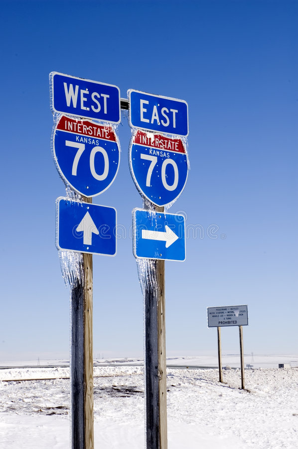 Download East And West I-70 Signs With Icicles Stock Photos - Image: 1701383