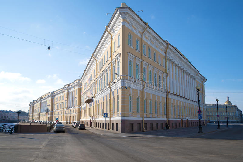 East wing of the General Staff Building close up in the sunny March afternoon. Saint-Petersburg royalty free stock photography