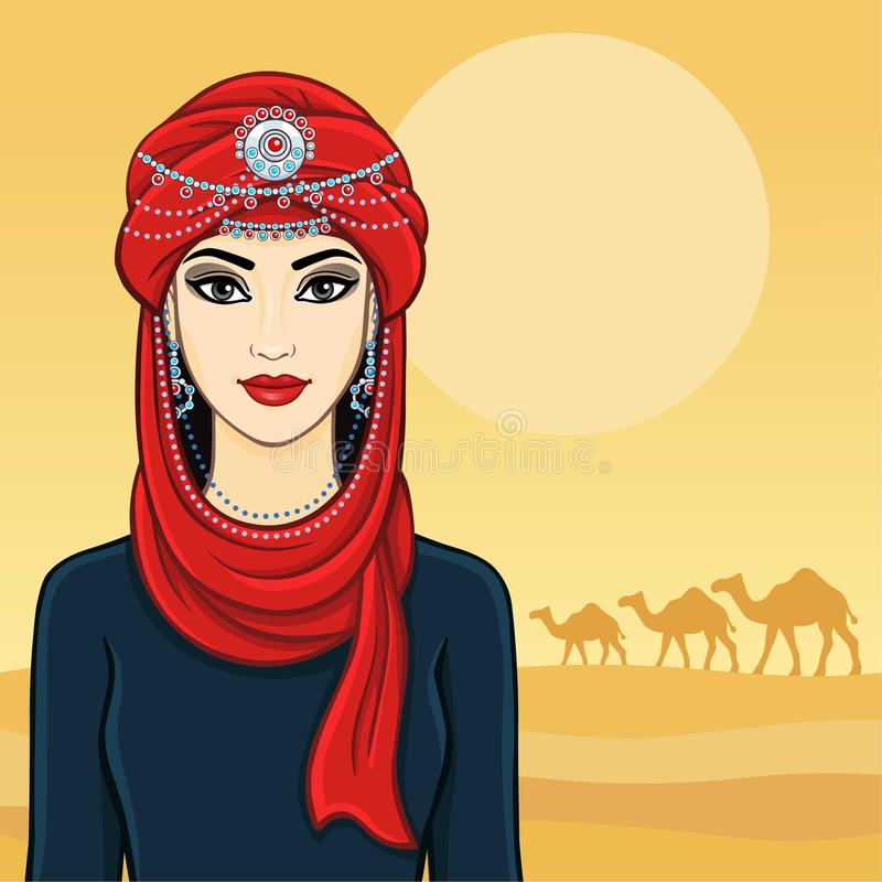 East woman in a turban. Vector illustration: East woman in a turban. Background desert stock illustration