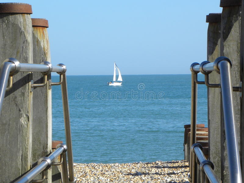 Eastbourne Beach and sea stock images
