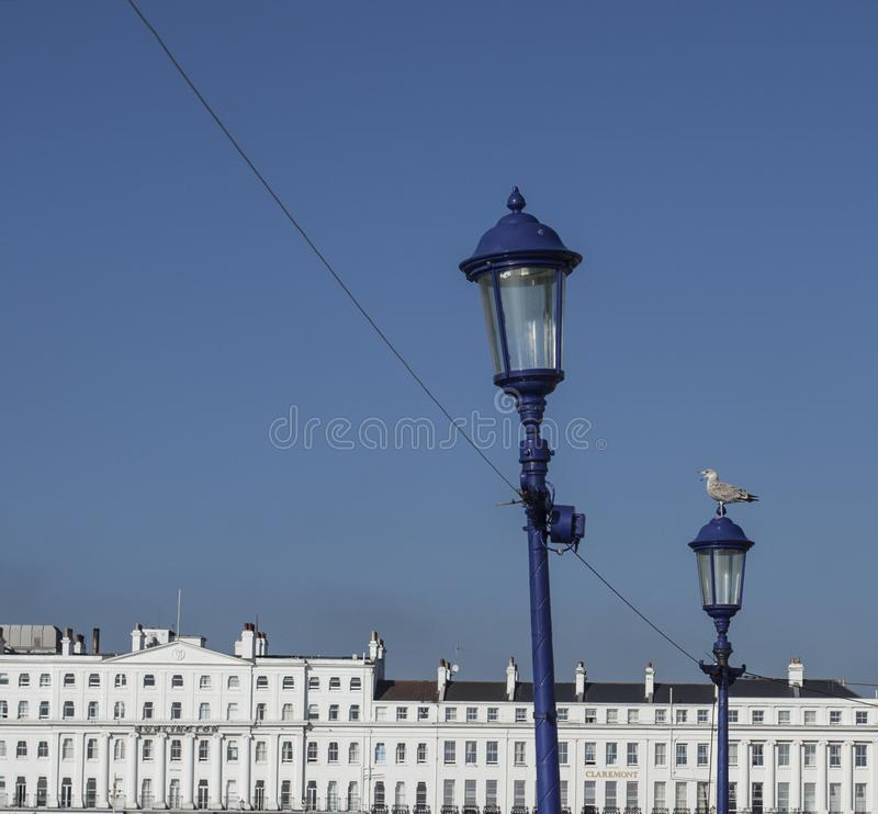 Eastbourne, East Sussex, England - white and blue. This image shows a view of some white buildings in Eastbourne, East Sussex, south England. It was taken on a stock photos