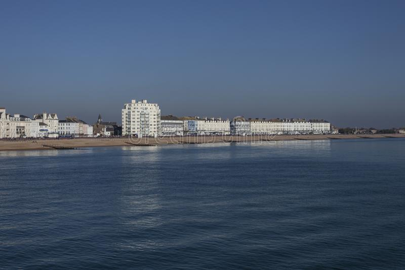 Eastbourne, East Sussex, south England - white buildings at the seafront. This image shows a view of the some white buildings at the seafront in Eastbourne stock photos