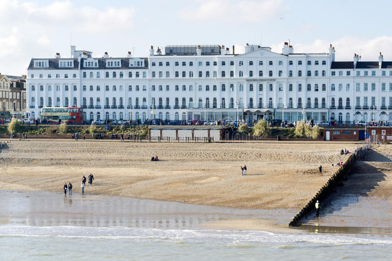 EASTBOURNE, EAST SUSSEX/UK - FEBRUARY 15 : View of the Burlington Hotel in Eastbourne on February 15, 2015. Unidentified people. stock photos