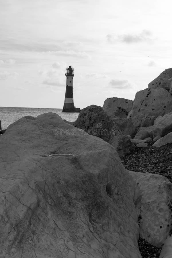 16/09/2018 Eastbourne, het Verenigd Koninkrijk Kiezelachtige HoofdVuurtoren royalty-vrije stock afbeeldingen