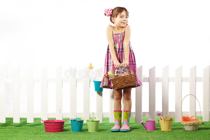 Easter. Studio portrait of cute kid girl Easter series royalty free stock photos