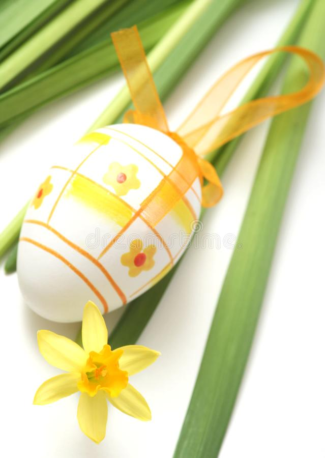 Easter. Egg with yellow flower royalty free stock image