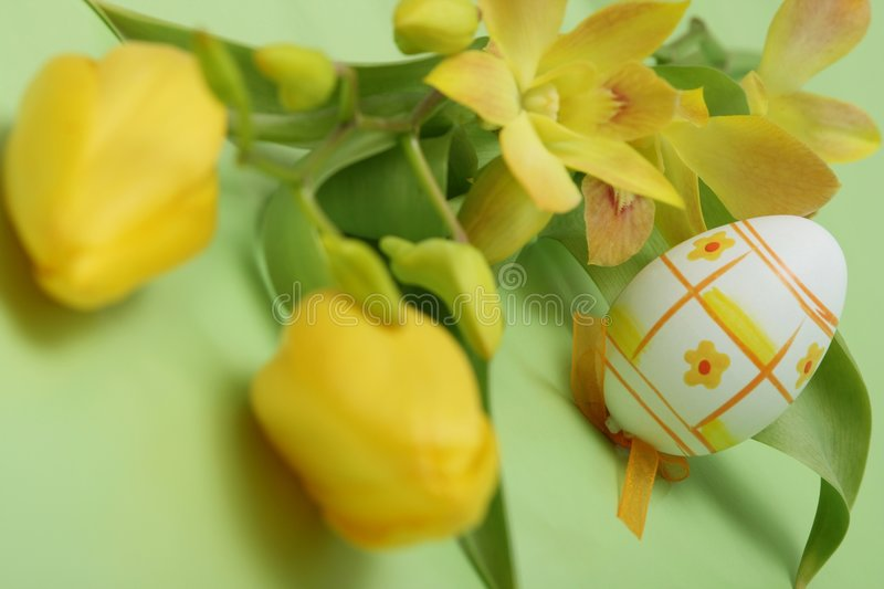 Easter. Egg with yellow orchid on green background stock photo