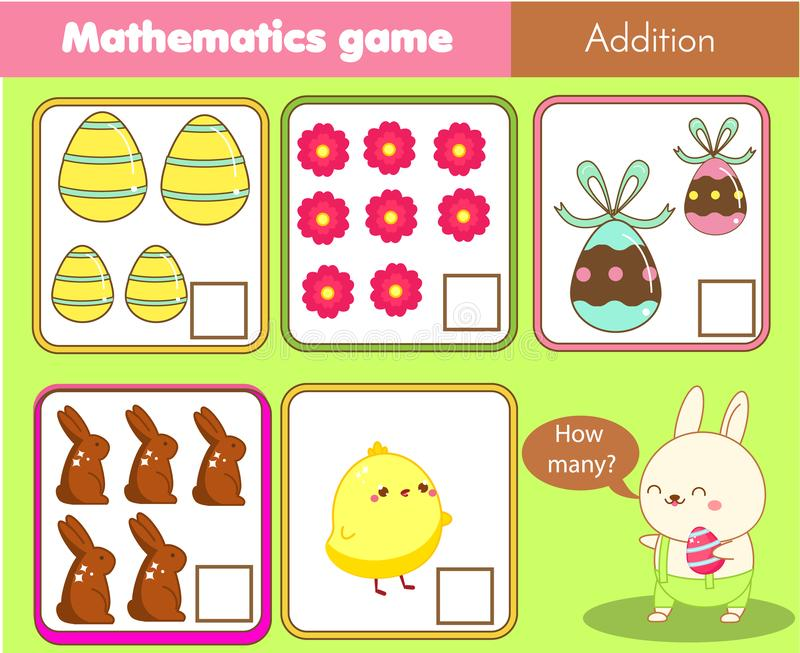 Easter activity. Counting educational children game. Mathematics activity for kids and toddlers. How many objects. Study math, royalty free illustration