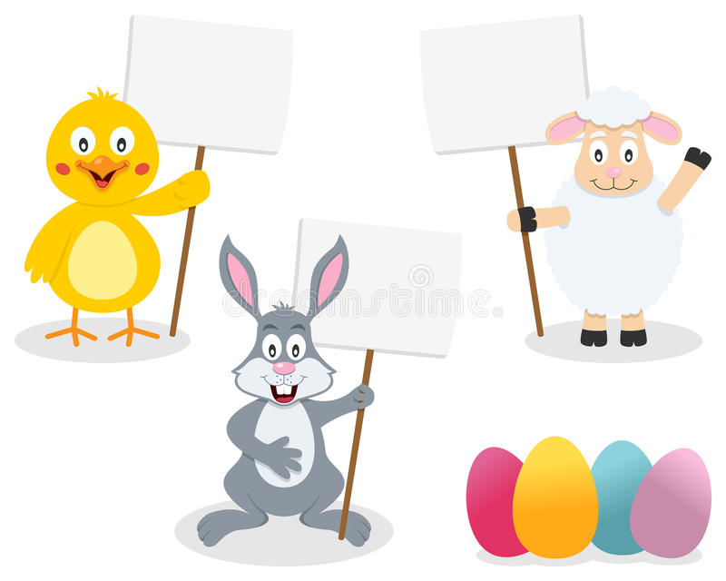 Easter Animals Holding Blank Sign. A group of Easter animals, with a bunny rabbit, a lamb and a cute chick, holding a blank sign. Eps file available stock illustration