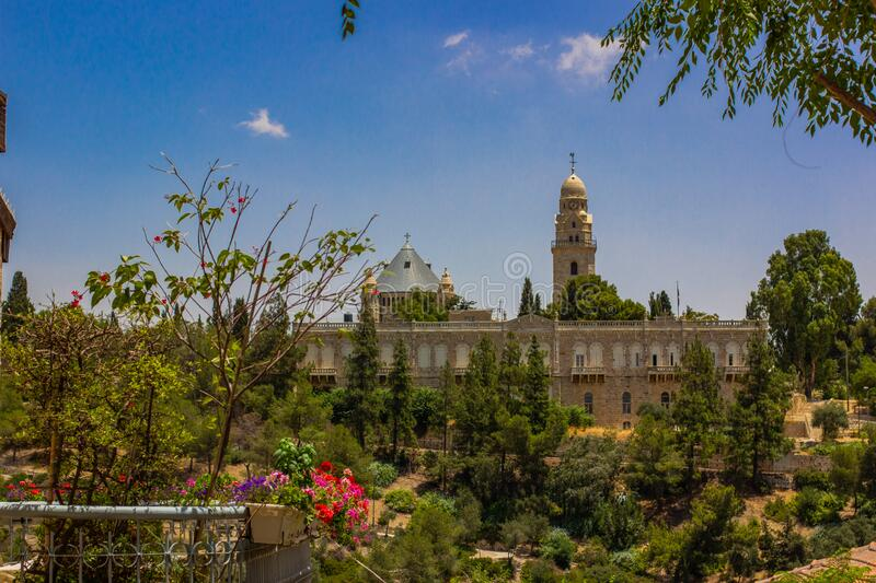 Easter architecture palace Jerusalem Israeli holy land destination place in Middle East landmark view with park garden nature. Scenic foreground space trees and royalty free stock image