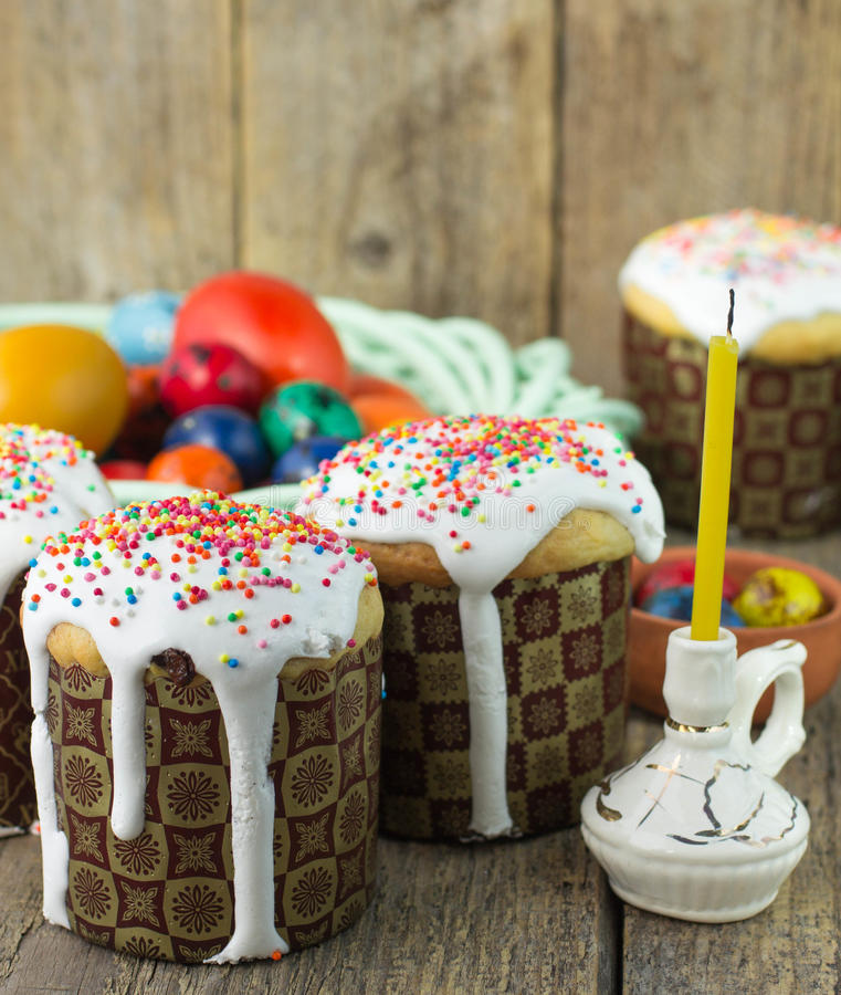 Easter arrangement Easter cakes and painted eggs in a rustic style stock photography