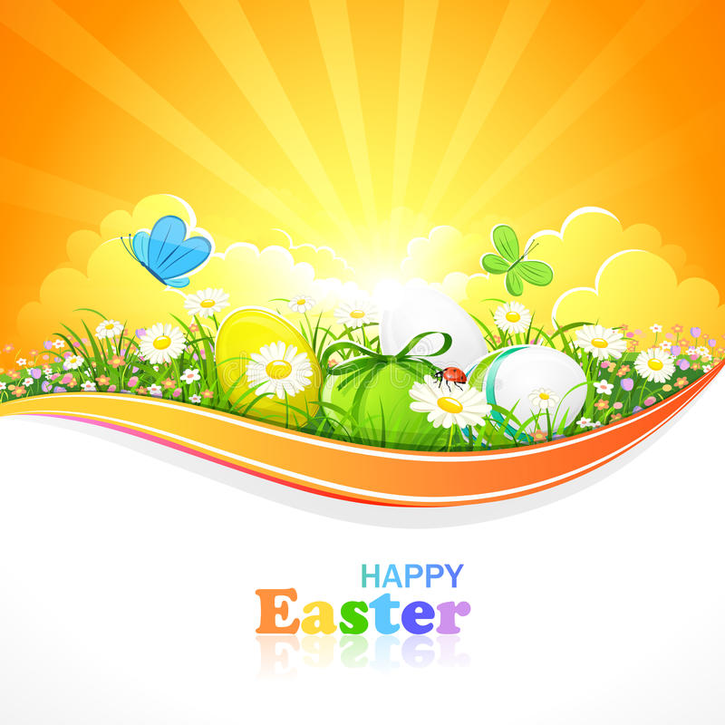 Easter background. Easter eggs with flowers and grass on a background of the sunny sky. Vector illustration