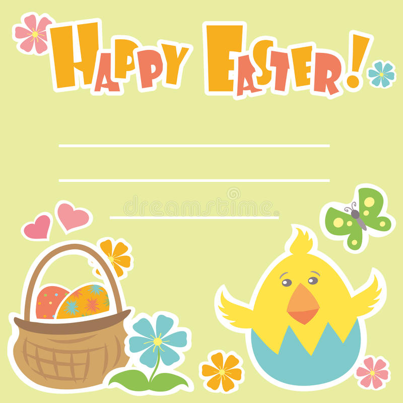 Easter Background, basket with eggs vector illustration