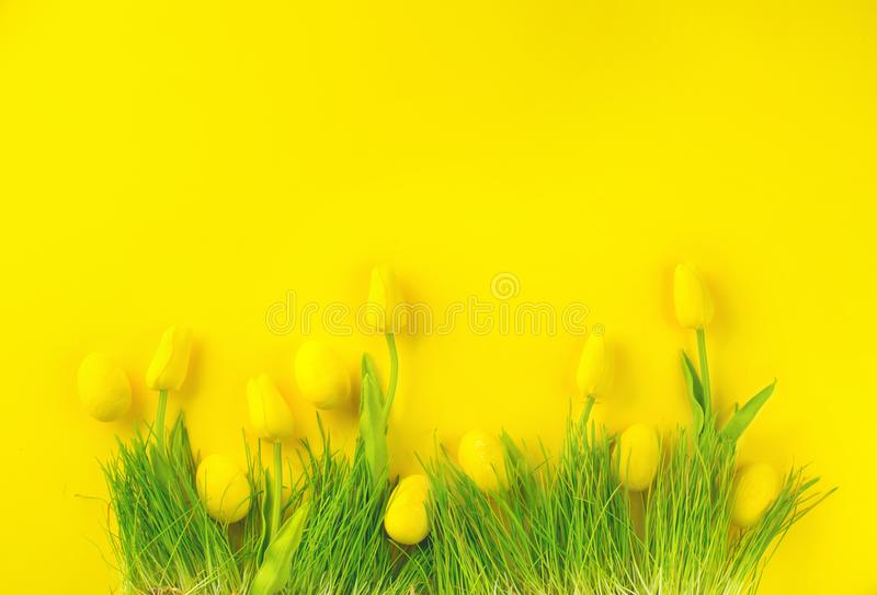 Easter background. Bright yellow eggs and vivid spring blooming tulips and fresh grass over yellow background royalty free stock photography