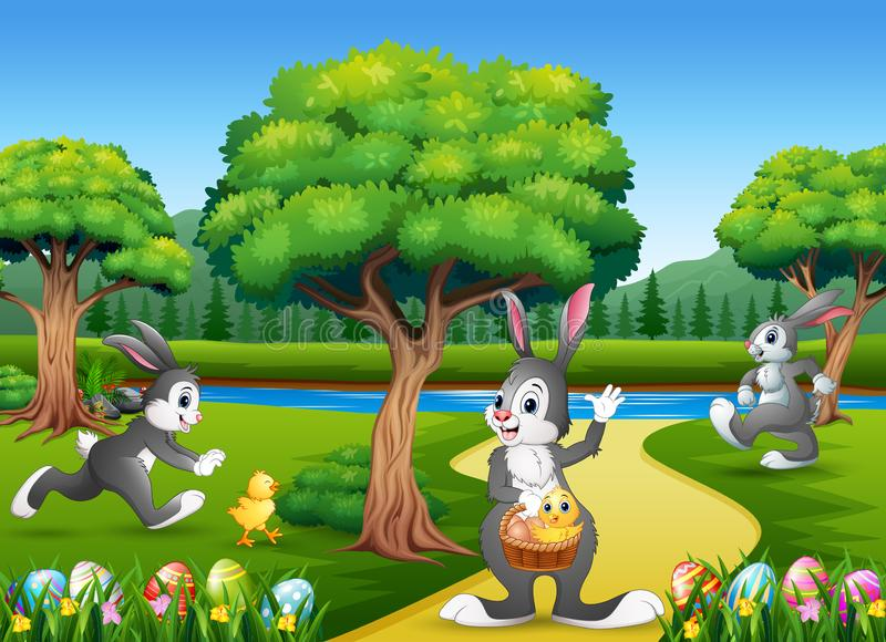 Easter background with bunnies and baby chick on the nature royalty free illustration