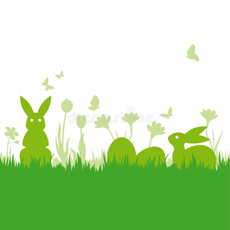Easter holiday background with eggs and bunnies. Easter background with bunnies and eggs silhouettes on meadow vector illsutration vector illustration
