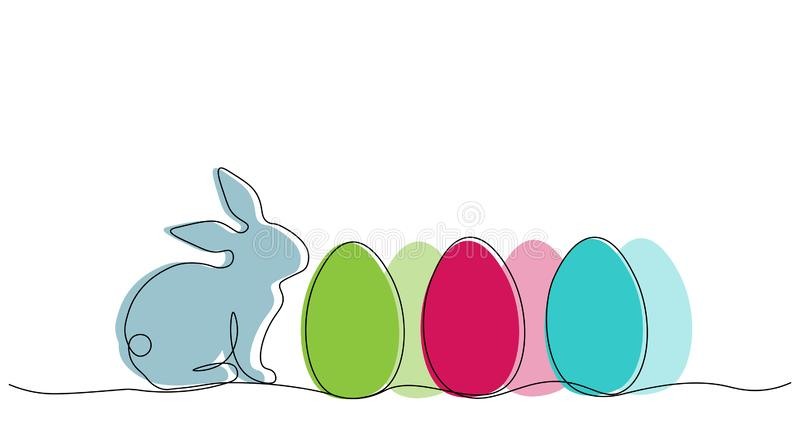 Easter background with easter bunny and eggs, vector illustration stock illustration