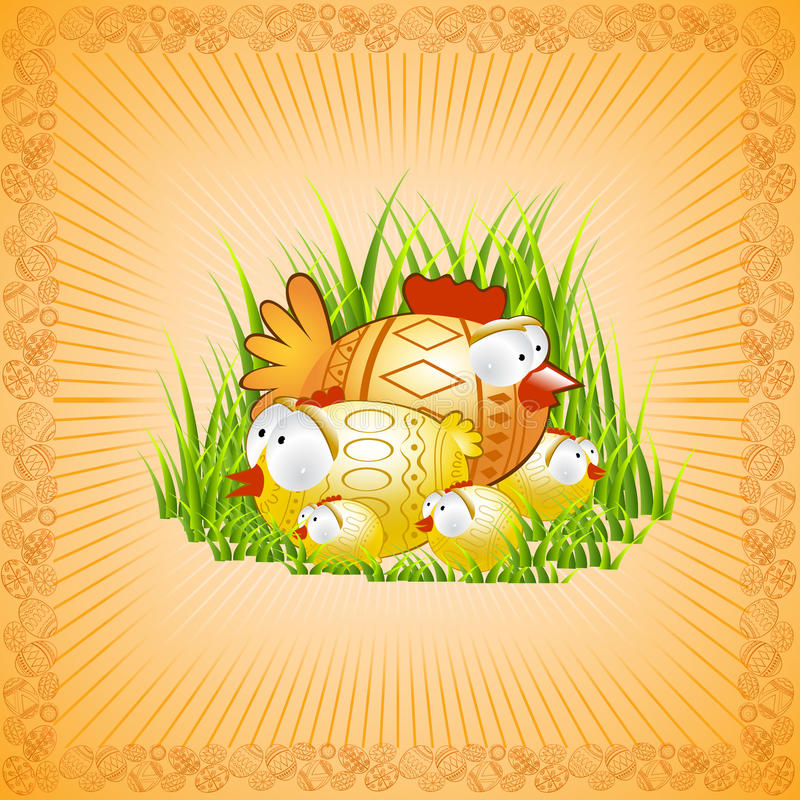 Easter background chicken hen royalty free illustration