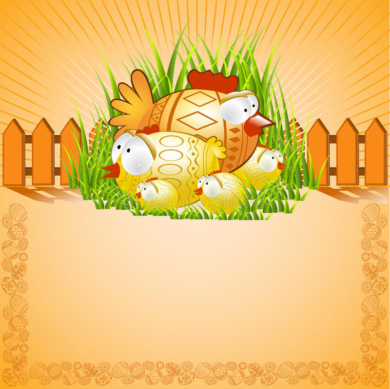 Easter background chiken stock illustration
