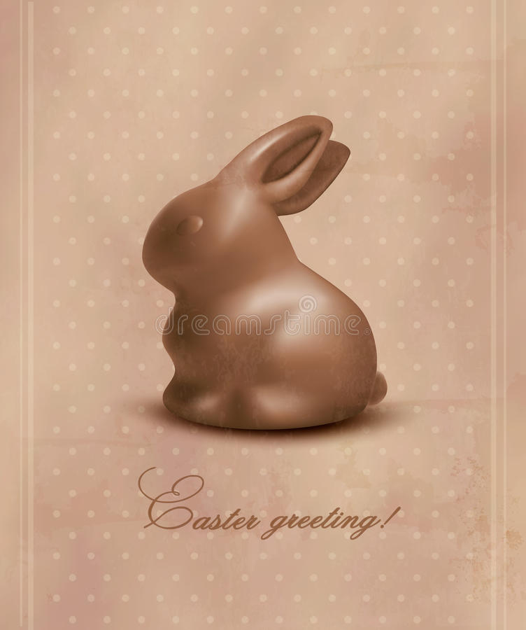 Easter background with a chocolate bunny. Vector stock illustration
