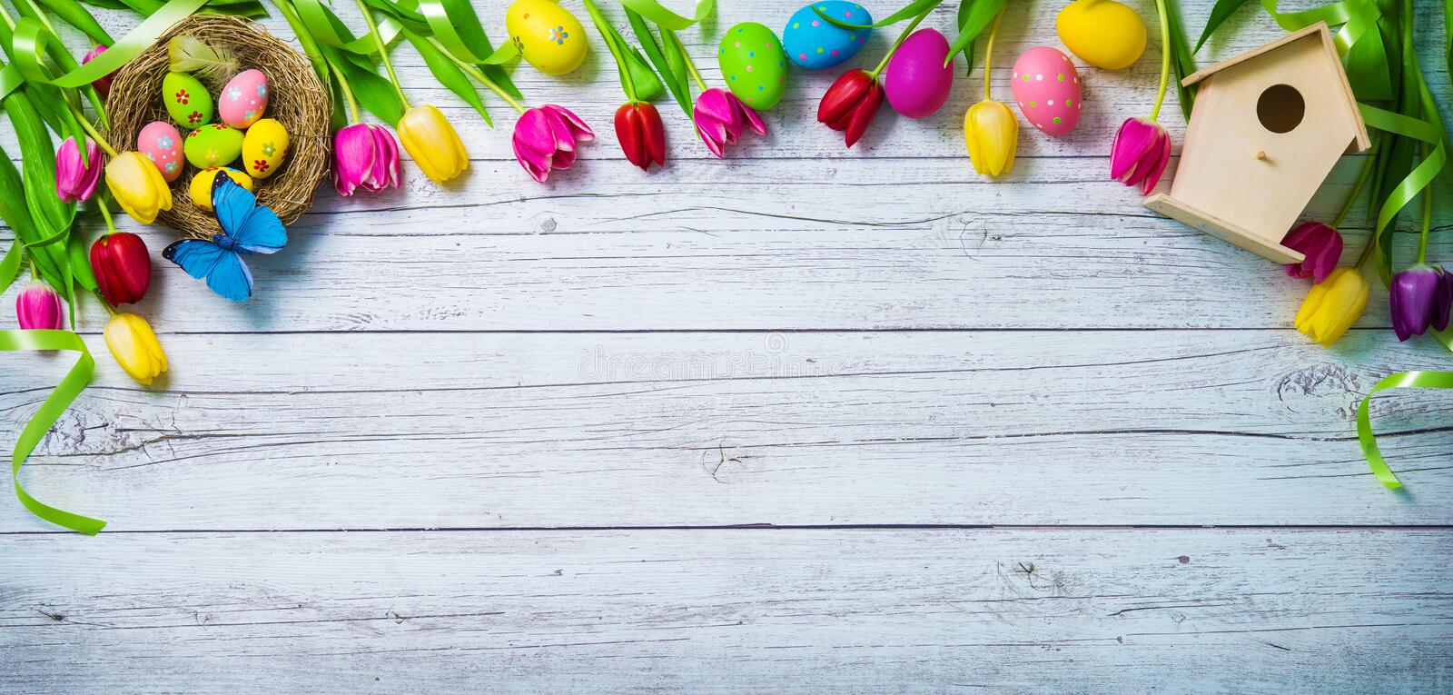 Easter background. Colorful spring tulips with butterflies and p royalty free stock images