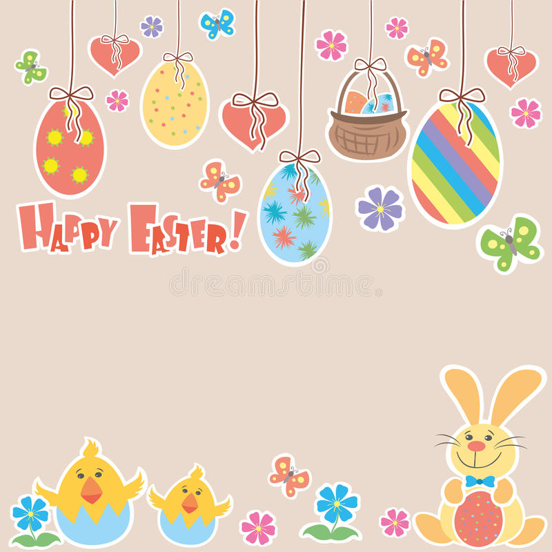 Easter Background with cute rabbit, colorful eggs and a chick, p royalty free illustration