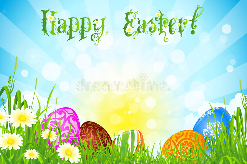 Easter Background With Decorated Easter Eggs Royalty Free Stock Image