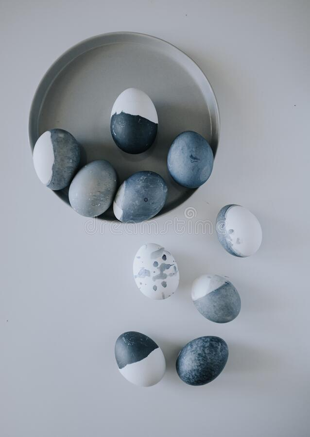 Naturally dyed blue eggs prepared for Easter on white background. Easter background with Easter eggs in a ceramic gray bowl. Easter background with Easter eggs stock images