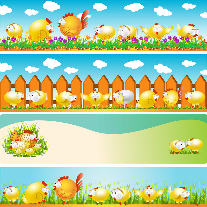 Easter background egg chicken hen banner stock illustration