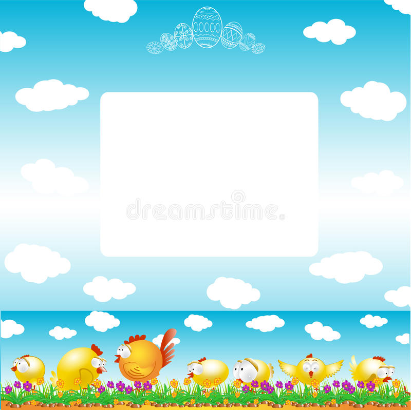 Easter background egg chicken hen color stock illustration