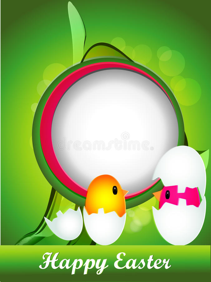 Easter background with eggs and chikens royalty free stock image