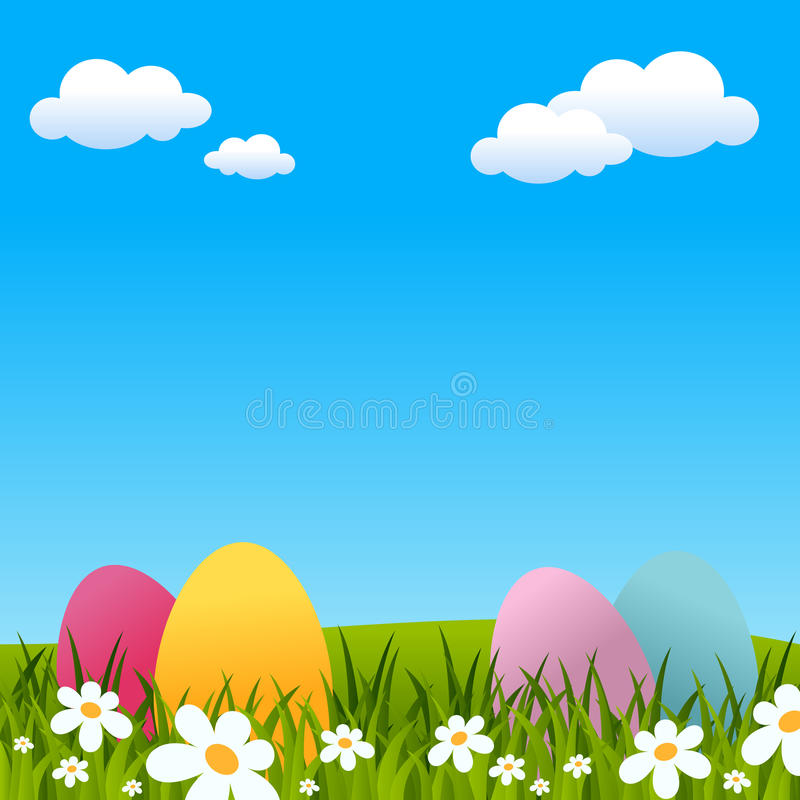 Easter Background with Eggs and Flowers. Easter or spring background with Easter eggs, green grass and flowers. Eps file available stock illustration