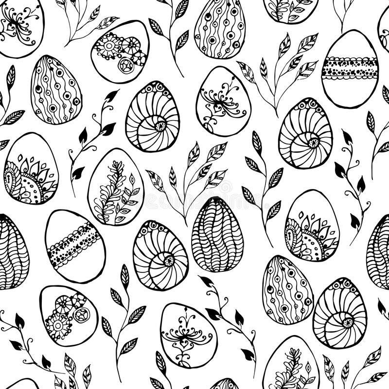 Easter background with eggs hand drawn black on white background royalty free illustration
