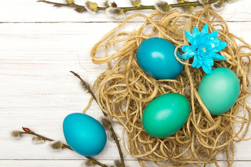 Easter background with eggs, nest and catkins on white wooden background stock image