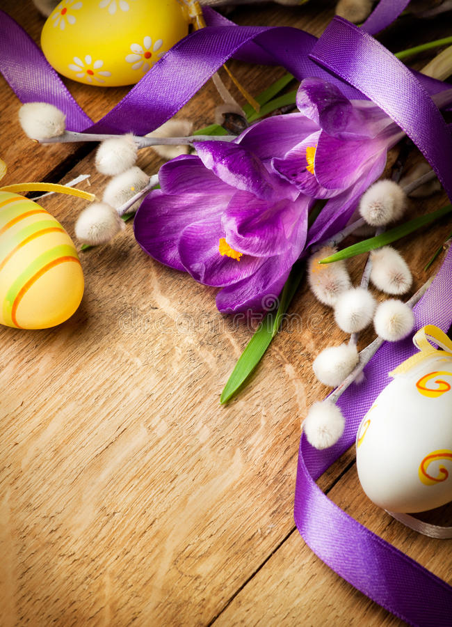 Easter Background With Flowers And Easter Eggs Stock Photo