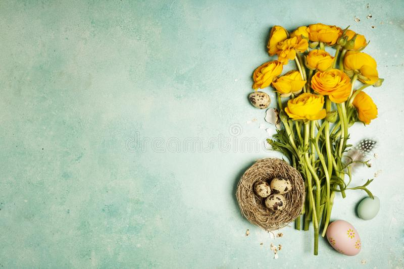 Easter background with flowers royalty free stock photos