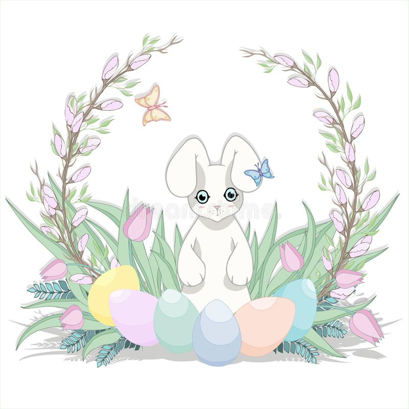 Easter background. Grass, bunny and egg. Happy Easter. royalty free stock photo