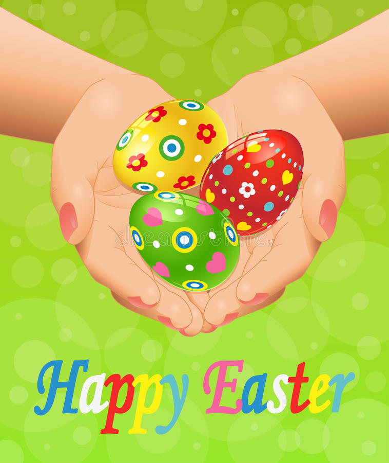 Easter background with hands and Easter eggs royalty free stock images