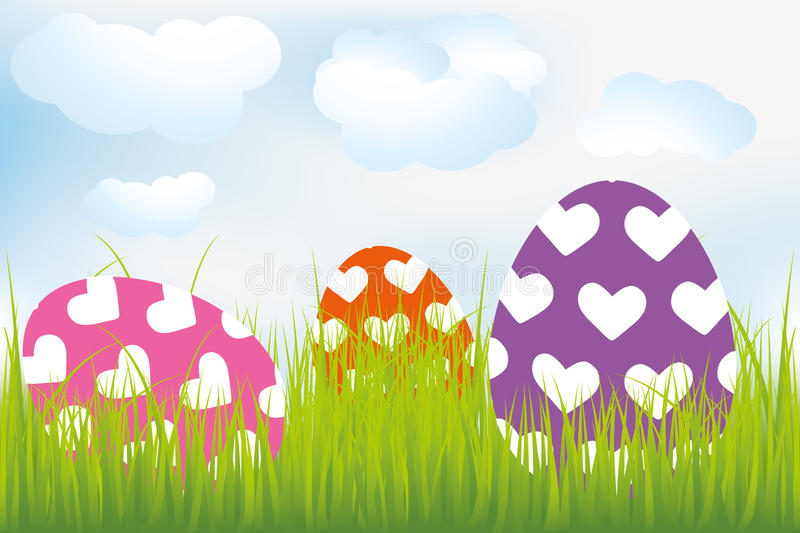 Easter background with heart-decorated eggs in meadow. Illustration royalty free illustration
