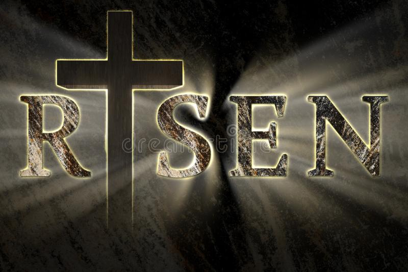 Easter background with Jesus Christ cross and risen text written, engraved, carved on stone stock images