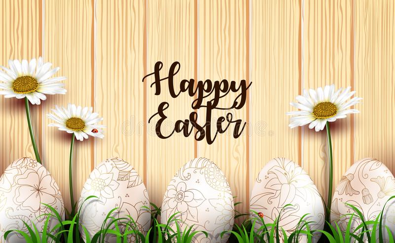 Easter background with realistic eggs and daisy flowers in the grass on wood texture background vector illustration