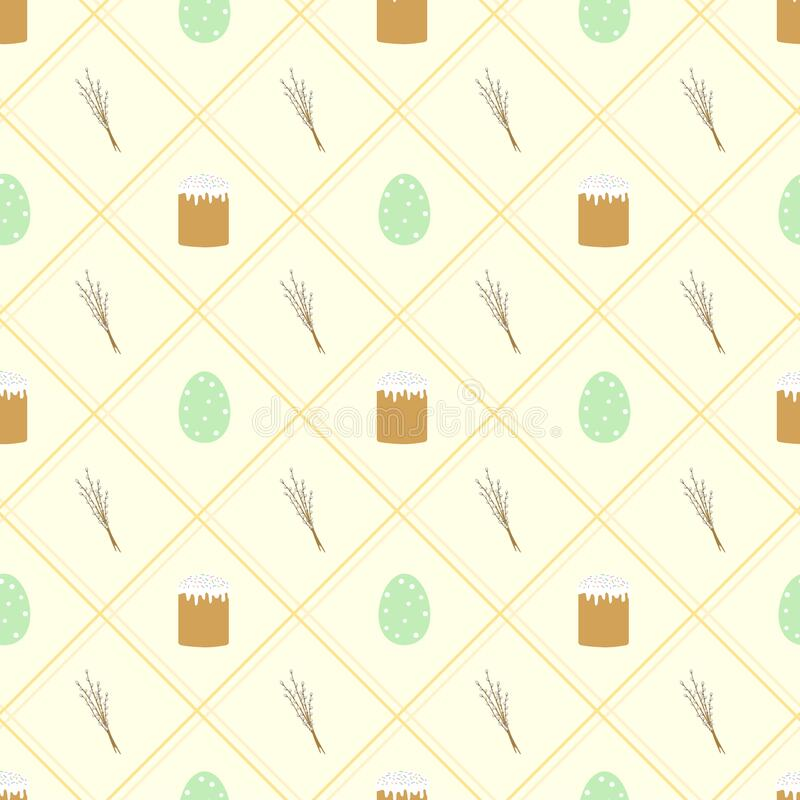 Easter background. Seamless pattern with Easter cakes, colored eggs and willow branches on a yellow background royalty free illustration
