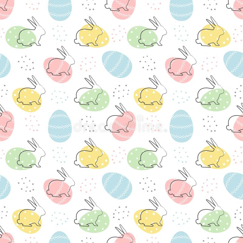 Easter background. Seamless pattern with Easter bunnies and eggs on a white background stock illustration