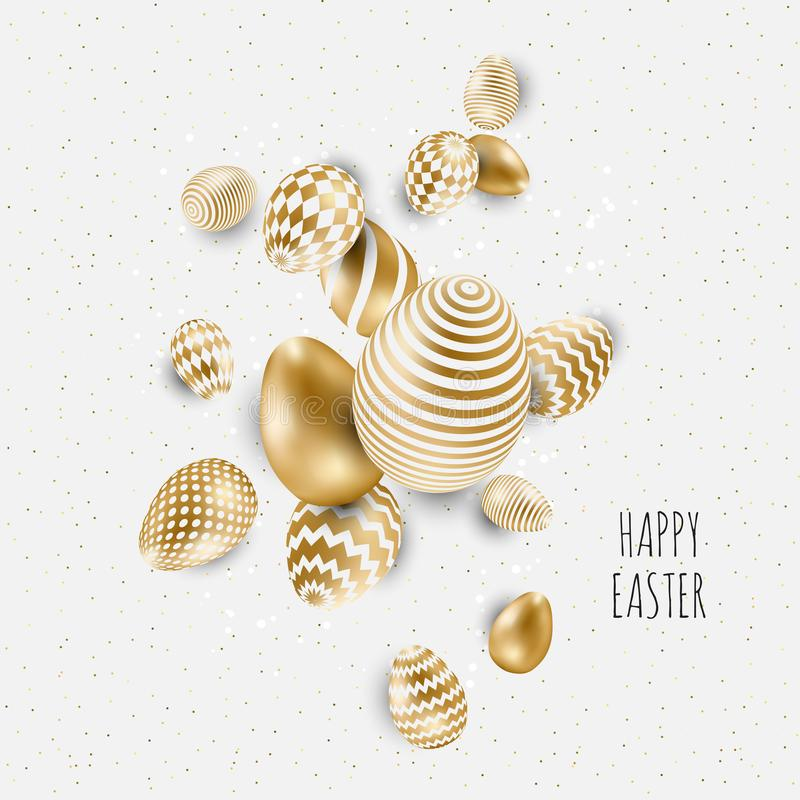 Easter background template with gold eggs. Vector illustration stock illustration