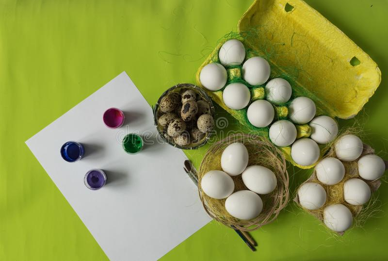 Easter background with white chicken Chicken and quail eggs decorative sisal. Close-up photo, macro. Food concept. Easter background with white chicken Chicken vector illustration