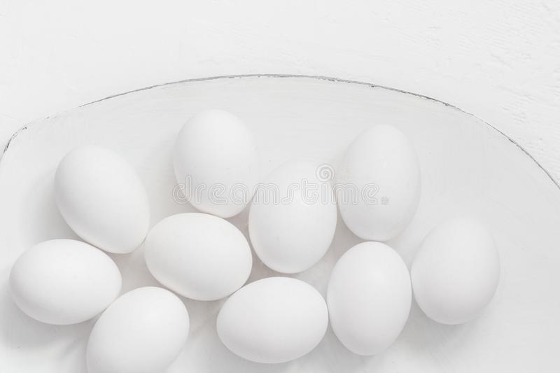 Easter background White eggs platter stock image