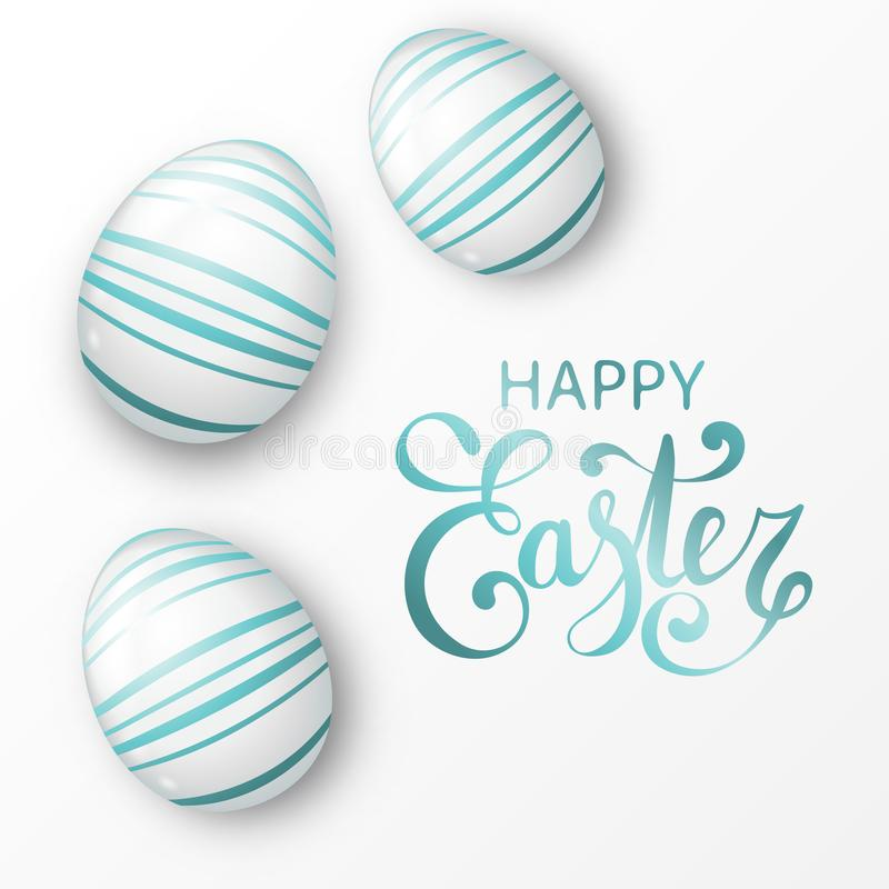 Free Easter Background With Realistic White Eggs With Elegant Stripes Stock Photos - 109696193