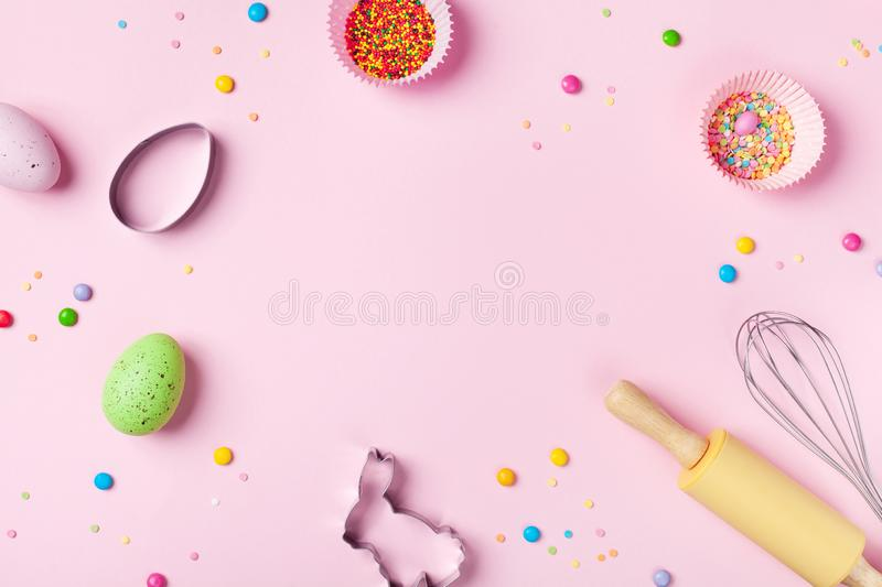 Easter baking background with kitchen tools for holiday sweet bakery top view. Flat lay. Style royalty free stock photos